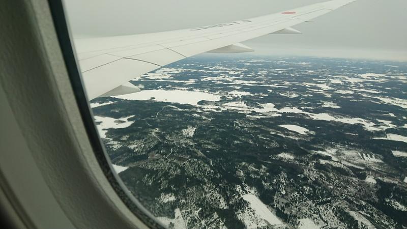 機内からのヘルシンキ周辺の風景